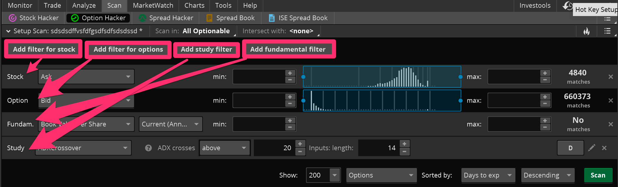 thinkorswim tutorial options hacker how to add filters